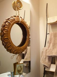Eclectic | Bathrooms | Brian Patrick Flynn : Another great way to save the mirror but dress it up in an unexpected way.
