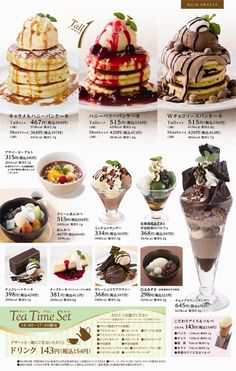 Desserts menu - Denny's Japan Food Graphic Design, Food Menu Design, Cafe Menu, Cute Food, I Love Food, Japanese Menu, Menu Layout, Menu Book, Food Gallery