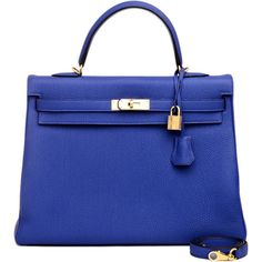 Pre-Owned Hermes Bleu Electrique (Blue Electric) Togo Kelly 35cm Gold... ($19,250) ❤ liked on Polyvore featuring bags, handbags, borse, hermes, purses, blue, hand bags, crocodile leather handbags, leather purses and leather man bags