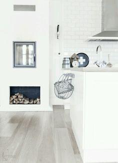 white walls and black inside fireplace Kitchen Interior, Kitchen Design, Scandinavian Kitchen, Love Your Home, Home And Deco, Kitchen Flooring, Beautiful Interiors, Cool Kitchens, Home And Living