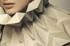 3D Pleated Collar - origami textiles; material manipulation; paper couture