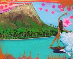 DIAMOND HEAD HONOLULU SURF PAINTING Prints - Official website for Shannon McIntyre, Artist, Professional Surfer, On Surfari and Family Adventure TV show host and producer. Purchase prints, art, order original paintings and learn about Shannon's latest adventures and creative projects.