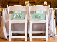 """Mint green """"Mr."""" and """"Mrs."""" signs are a pretty touch to your chair-back decor for your wedding >> http://www.diynetwork.com/decorating/chair-back-decor-for-your-wedding/pictures/index.html?soc=pinterest"""