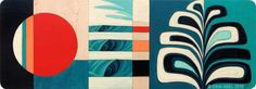 """""""Sol Slice 3"""" © Erik Abel 2015 45"""" x 16"""" Acrylic, marker, colored pencil on wood #oceanart #art #surfart #erikabel"""