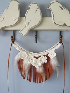 feather and flower necklace  100% cotton crochet, kangaroo leather and feathers.