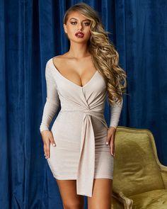 30c82907c0d Feelin' A Spark Twist Front Metallic Mini Dress in Blush Metallic Mini  Dresses, Plunging