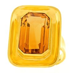 Modernist Citrine Gold Ring,  8.0 carat citrine, circa 1980s