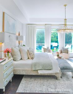 Glam Master Bedroom, Master Bedroom Makeover, Master Bedroom Design, Bedroom Decor, Feminine Bedroom, Master Bedrooms, Bedroom Ideas, Beautiful Bedrooms, Awesome Bedrooms