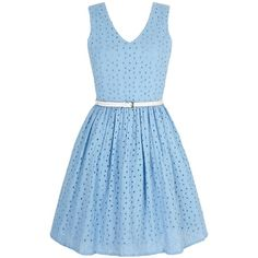 Yumi Broderie Anglaise Summer Dress ($79) ❤ liked on Polyvore featuring dresses, blue, clearance, summer dresses, waist belt, cotton dress, knee-length dresses e blue cotton dress