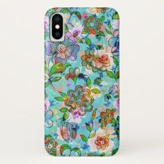 Colorful Vintage Flowers Pattern Collage iPhone X Case - floral style flower flowers stylish diy personalize