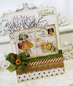 I'm not entirely sure what it is about this card that draws me in... I like the colors, I like the tree branches in the background, I like the old timey postcard... I just like it.