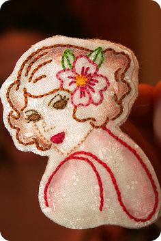 Embroidered Girl Brooch by SewLovelyEmbroidery, via Flickr