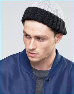 2a82728e2ef ASOS Men s Black and Grey Mini Fisherman Beanie Asos Men