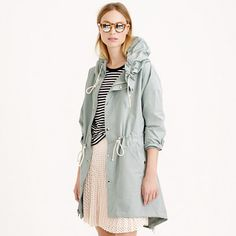 "The perfect transitional piece, this lightweight, water-resistant jacket is finished with details like contrasting herringbone tape, adjustable cords and a shirttail hem that compliments the easy oversized fit. Pro tip: Size down if you're into a more classic look. <ul><li>Oversized fit.</li><li>Body length: 34 3/4"".</li><li>Sleeve length: 33"".</li><li>Hits at midthigh.</li><li>Poly/nylon/cotton.</li><li>Hooded.</li><li>Welt pockets.</li><li>Dry clean.</li><li>Import.</li></ul>"