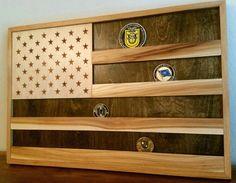 American flag challenge coin display rack.