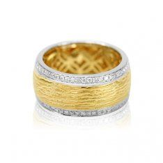 18ct Yellow & White Gold Wide Band Ring