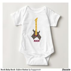 Rock Baby Rock  Calico Guitar Infant Creeper