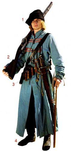 """Униформа польского пехотинца XVII векаЦвет жупанов и делий был, в основном, голубым. На голове носили венгерский головной убор - шапку-мегерку. 1 - Мегерка. 2 - Мушкет. 3 - Бандольер с лядунками. Через плечо пехотинец носил бандольер с 12 деревянными лядунками с пороховыми зарядами, которые они в шутку называли """"12 апостолов"""", сумочку для пуль, кремней и пыжей."""