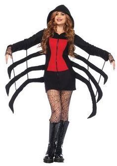 People who normally are afraid of spiders won't be scared when they see you in this fun costume! Zip-front black fleece hooded dress with red danger hourglass detail has extra spider legs attached to