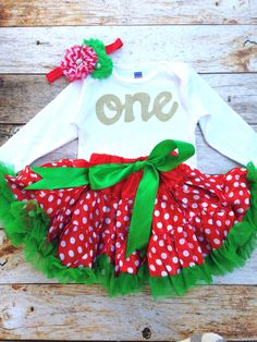 Red Petticoat tutu with green bow- long sleeve gold glitter one onesie- red/ green headband- girls 1st Birthday outfit Christmas