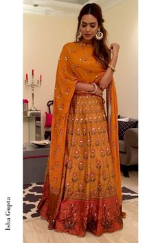 Mustard Silk Printed And Embroidered Lehenga Choli With Dupatta