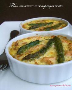 Recette flan au saumon et aux asperges vertes par Elise : Un flan associant les asperges vertes et le saumon pour un résultat délicieux..Ingrédients : saumon, lait, oignon, poivre, asperge