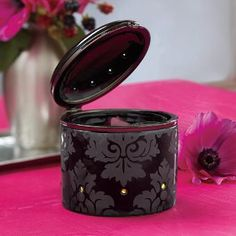 """FORBIDDEN ROMANCE SCENTGLOW® WARMER  Item #:  P91732 Elegant and dainty glazed ceramic trinket box is actually an electric Warmer! Releases the fragrance of Scent Plus® Melts, sold separately, placed in the dish. Open lid for stronger fragrance throw. Specialty packaging; black cord. 3½""""h, 3½""""dia. Scent Plus® Melts $45.00 each  www.partylite.biz/kristianapflum"""
