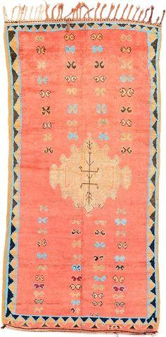4' 4 x 8' 7 Pink Tribal Moroccan Oriental Rugs
