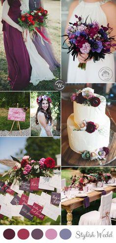 romantic burgundy and lavender wedding color inspiration