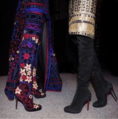 Louboutin hand embroidered Louise XI over the knee boots