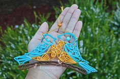 Paper Quilling Birds sitting on a branch Two birds on a