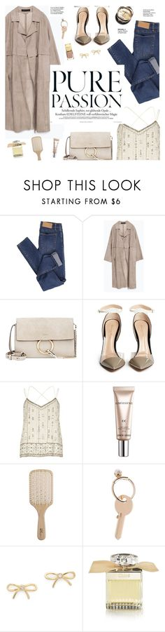 """""""Pure passion."""" by honestlyjovana ❤ liked on Polyvore featuring Cheap Monday, Zara, Chloé, Gianvito Rossi, River Island, CC, Chanel, Philip Kingsley, Maison Margiela and Kate Spade"""