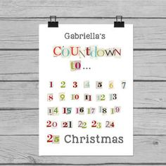 Christmas Countdown Personalised Kids Date Poster Print - advent calendars