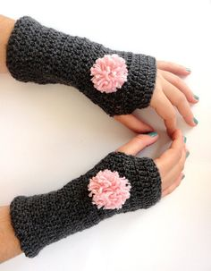 New hand crocheted Fingerless gloves ,gray , pom pom gloves,gray and pink,