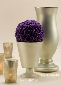 Milky Frost Pedestal Vase and Hurricane Vase. (I liked the color and thought of you liking purple @Emily Schoenfeld Erickson)