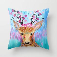 Sakura Deer Throw Pillow