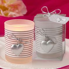 Find Glass Silver heart design votive candle holder with a white and silver striped design around a frost with quantity discounts here, along with other wedding favors and shower gifts. Homemade Wedding Favors, Vintage Wedding Favors, Inexpensive Wedding Favors, Candle Wedding Favors, Candle Favors, Votive Candle Holders, Votive Candles, Wedding Ideas, Glass Votive