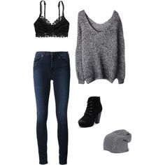 A fashion look from January 2015 featuring knit sweater, high rise jeans and aerie lace lingerie. Browse and shop related looks.  cute comfy teen outfit