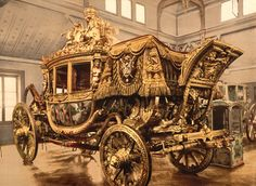 Historical photo of the extravagant carriage that belonged to Charles X, displayed in a museum on a wooden floor in Versailles, France, between 1890 and Charles X, Chateau Versailles, French Royalty, French History, Horse Carriage, Buggy, Horse Drawn, Elizabeth Ii, Historical Photos
