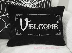 Zulily featured Velcome Funny Halloween Pillow Cover Vampire Welcome Greeting Embroidered Black Velvet 12 x 16 Chic Halloween, Holidays Halloween, Halloween Crafts, Happy Halloween, Halloween Decorations, Funny Halloween, Halloween Items, Funny Pillows, Throw Pillows