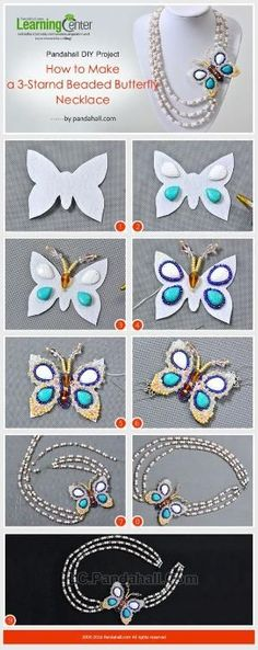 Pandahall DIY Project - How to Make a 3-Strand Beaded Butterfly Necklace from LC.Pandahall.com | Jewelry Making Tutorials & Tips 2 | Pinterest by Jersica