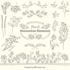 Colección de elementos de decoración floral Vector Gratis