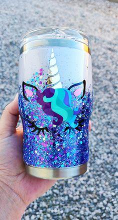 Vinyl Tumblers, Custom Tumblers, Tumblr Cup, Unicorn Cups, Girls Cup, Girls Tumbler, Unicorn And Glitter, Cute Cups, Glitter Cups