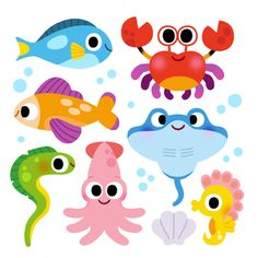 Under The Sea Clipart, Cartoon Sea Animals, Sea Illustration, Animal Doodles, Toddler Art, Baby Art, Illustrations And Posters, Cute Drawings, Cute Art