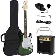 Full Size Green Electric Guitar with Amp, Case and Accessories Pack Beginner Starter Package. Guitar is designed with a maple wood neck and a hardwood body with a metallic finish. The guitar is designed with a a pickup selector switch, a volume knob, and two different tone knobs. Perfect guitar set designed for beginners. Set includes a 39 in electric guitar, a 10W amp, a guitar traveling case, guitar strings, and a guitar strap. The amp has a guitar and microphone outlet, as well as a...