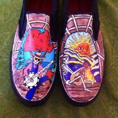 Grateful dead hand painted shoes