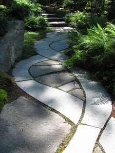 Winding pathway (Meditation Garden, Maine Botanical Gardens in Boothbay, Maine), paving, walkway, paver, concrete, landscape architecture