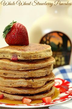 Whole Wheat Strawberry Pancakes www.fooddonelight.com