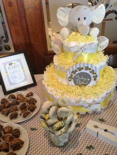 Nutral baby shower. Elephant theme. Yellow. Gray. White. Framed invitation. Truffles.  Choclate Oreo pops. Diaper cake.