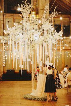 チェキはもう古い!?受付で新郎新婦へのメッセージを書いてもらい、リボンで吊り下げてデコレーションの一部に♪ 結婚式2次会の面白アイデアまとめ。